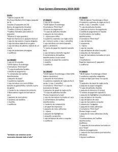 School Supply List 2019-20